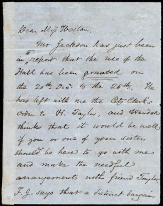 [Letter to] Dear Miss Weston by Samuel May